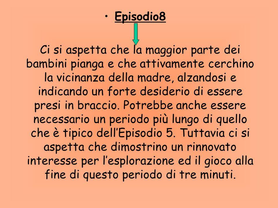 7 Episodio. Lestraneo entra nella stanza. Per la Ainsworth, scopo di questo episodio è verificare se il disagio provato dal bambino deriva semplicemen
