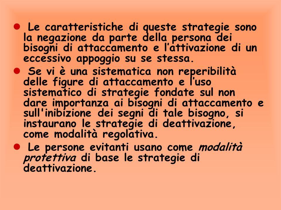 b. Le strategie di deattivazione l Se nel tentativo di avviare il sistema di attaccamento la persona conclude che esso non è attivabile, allora ella r