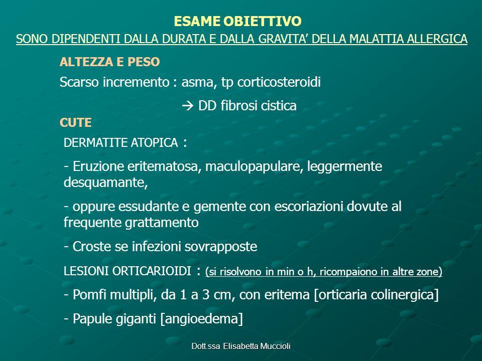 Dott.ssa Elisabetta Muccioli ESAME OBIETTIVO SONO DIPENDENTI DALLA DURATA E DALLA GRAVITA DELLA MALATTIA ALLERGICA ALTEZZA E PESO Scarso incremento :