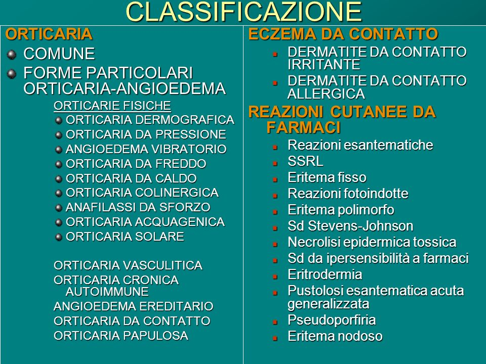 Dott.ssa Elisabetta MuccioliCLASSIFICAZIONEORTICARIACOMUNE FORME PARTICOLARI ORTICARIA-ANGIOEDEMA ORTICARIE FISICHE ORTICARIA DERMOGRAFICA ORTICARIA D