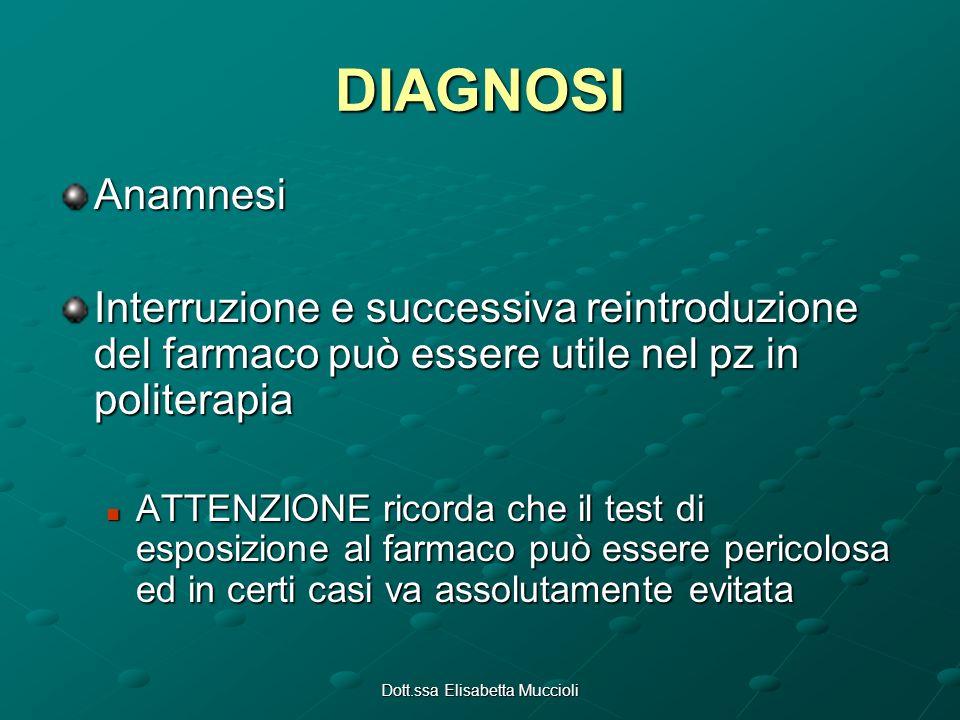 Dott.ssa Elisabetta Muccioli DIAGNOSI Anamnesi Interruzione e successiva reintroduzione del farmaco può essere utile nel pz in politerapia ATTENZIONE