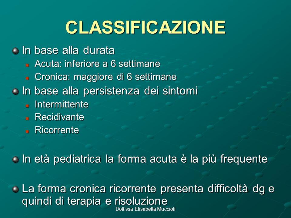 CLASSIFICAZIONE In base alla durata Acuta: inferiore a 6 settimane Acuta: inferiore a 6 settimane Cronica: maggiore di 6 settimane Cronica: maggiore d