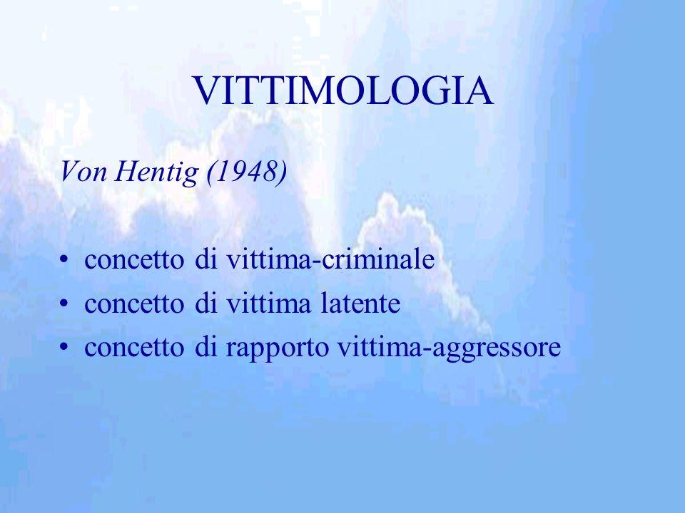 VITTIMOLOGIA Von Hentig (1948) concetto di vittima-criminale concetto di vittima latente concetto di rapporto vittima-aggressore
