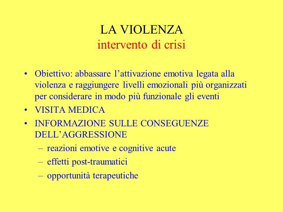 LA VIOLENZA intervento di crisi Obiettivo: abbassare lattivazione emotiva legata alla violenza e raggiungere livelli emozionali più organizzati per co