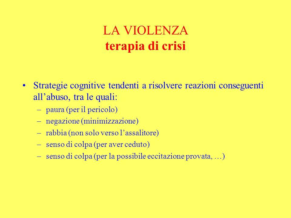 LA VIOLENZA terapia di crisi Strategie cognitive tendenti a risolvere reazioni conseguenti allabuso, tra le quali: –paura (per il pericolo) –negazione