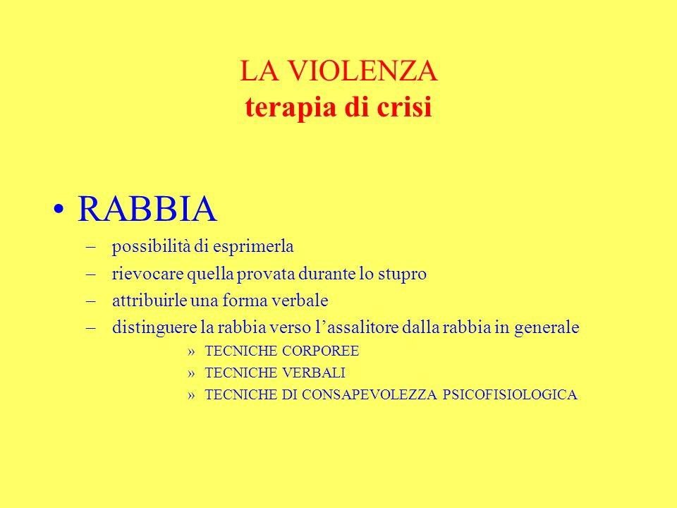 LA VIOLENZA terapia di crisi RABBIA – possibilità di esprimerla – rievocare quella provata durante lo stupro – attribuirle una forma verbale – disting