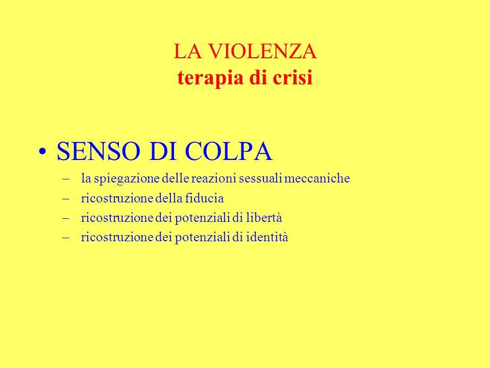 LA VIOLENZA terapia di crisi SENSO DI COLPA – la spiegazione delle reazioni sessuali meccaniche – ricostruzione della fiducia – ricostruzione dei pote