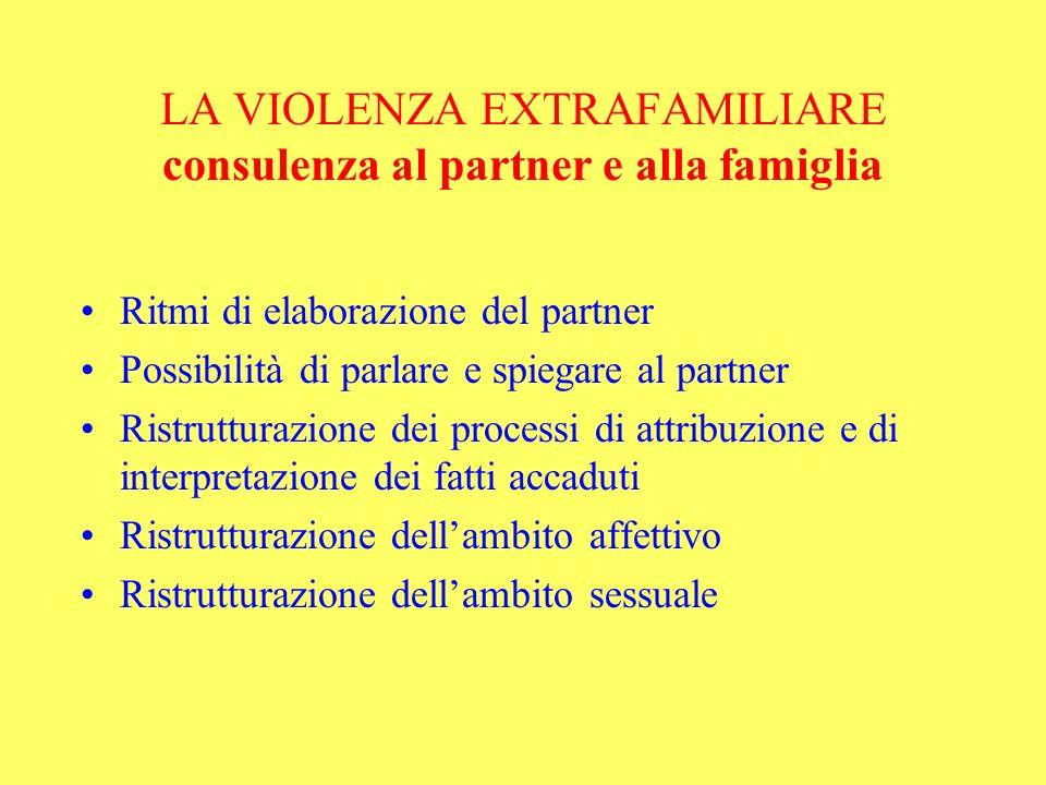 LA VIOLENZA EXTRAFAMILIARE consulenza al partner e alla famiglia Ritmi di elaborazione del partner Possibilità di parlare e spiegare al partner Ristru