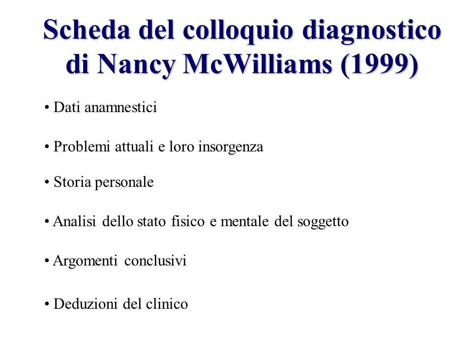 Scheda del colloquio diagnostico di Nancy McWilliams (1999) Dati anamnestici Problemi attuali e loro insorgenza Storia personale Analisi dello stato f
