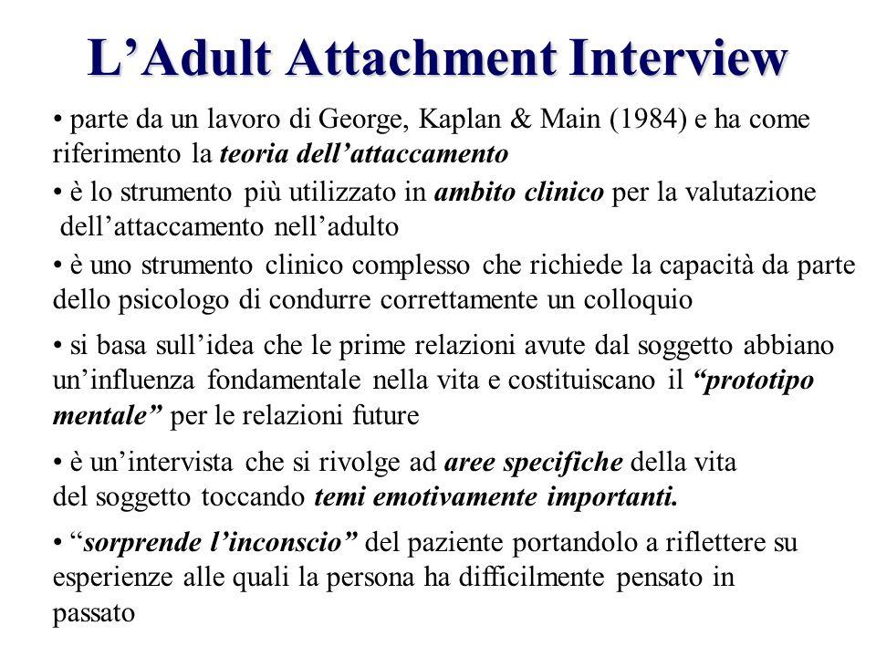 LAdult Attachment Interview è lo strumento più utilizzato in ambito clinico per la valutazione dellattaccamento nelladulto è uno strumento clinico com