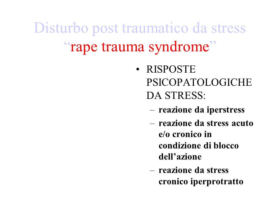 DISTURBO POST- TRAUMATICO DA STRESS (definizione ICD 10) Questo disturbo non dovrebbe essere diagnosticato se non cè evidenza dellesordio entro 6 mesi da un evento traumatico di natura eccezionalmente disastrosa.