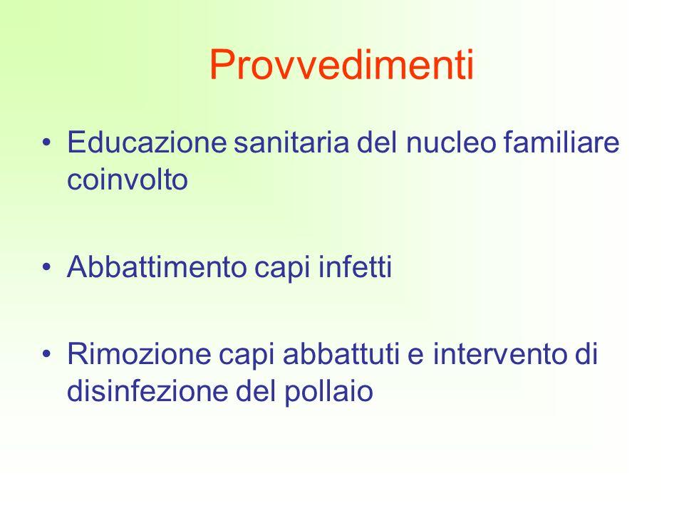 Provvedimenti Educazione sanitaria del nucleo familiare coinvolto Abbattimento capi infetti Rimozione capi abbattuti e intervento di disinfezione del pollaio