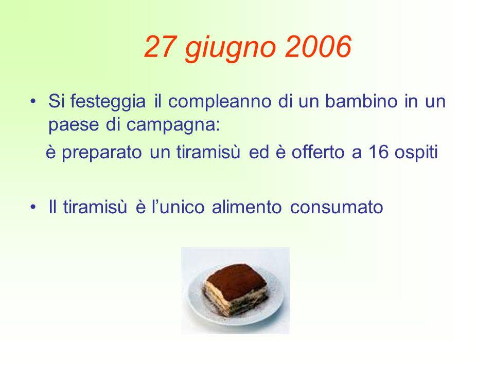 27 giugno 2006 Si festeggia il compleanno di un bambino in un paese di campagna: è preparato un tiramisù ed è offerto a 16 ospiti Il tiramisù è lunico alimento consumato