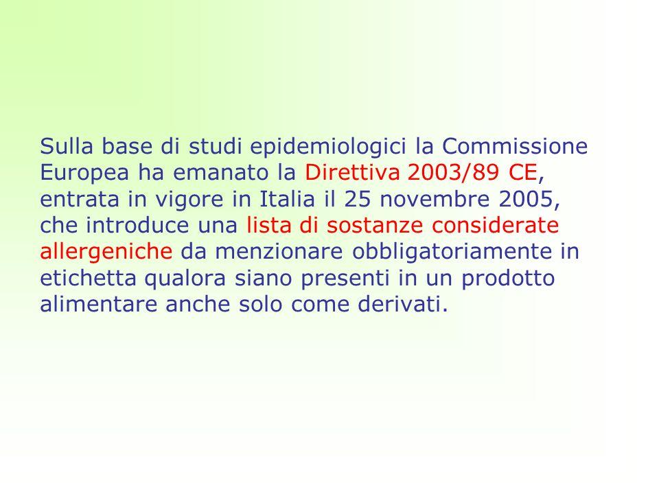 Sulla base di studi epidemiologici la Commissione Europea ha emanato la Direttiva 2003/89 CE, entrata in vigore in Italia il 25 novembre 2005, che introduce una lista di sostanze considerate allergeniche da menzionare obbligatoriamente in etichetta qualora siano presenti in un prodotto alimentare anche solo come derivati.