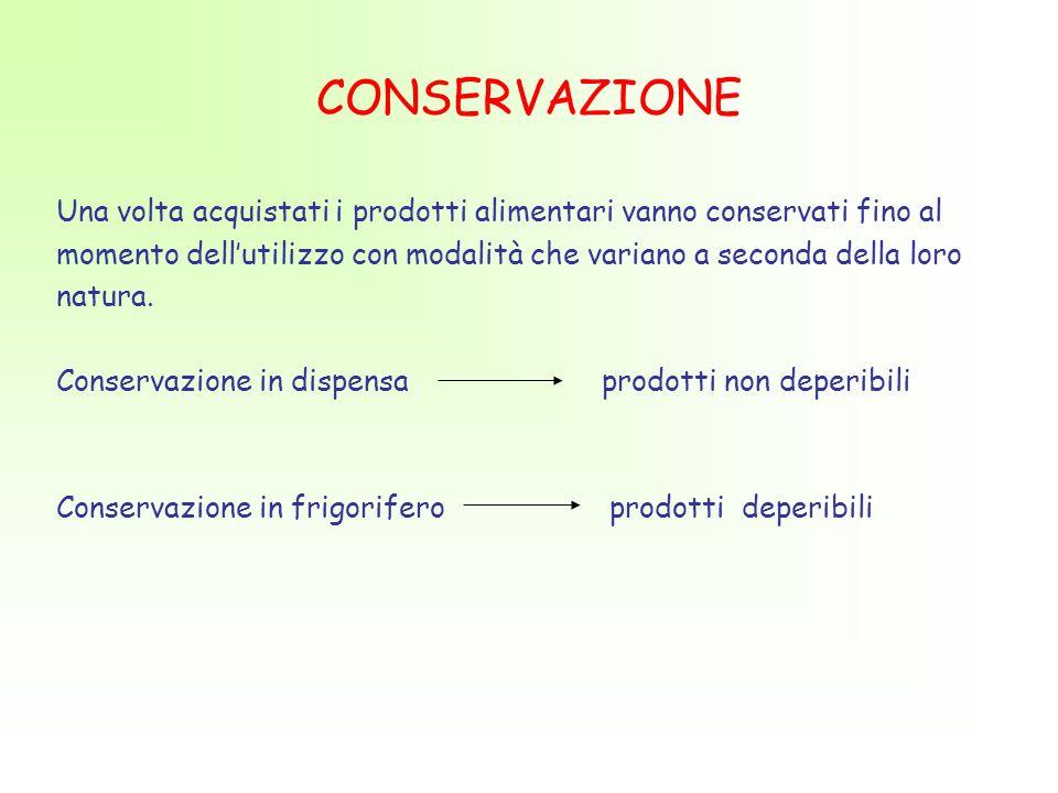 CONSERVAZIONE Una volta acquistati i prodotti alimentari vanno conservati fino al momento dellutilizzo con modalità che variano a seconda della loro natura.