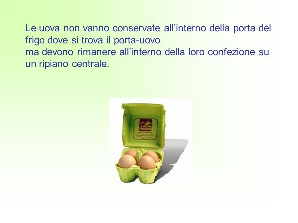 Le uova non vanno conservate allinterno della porta del frigo dove si trova il porta-uovo ma devono rimanere allinterno della loro confezione su un ripiano centrale.