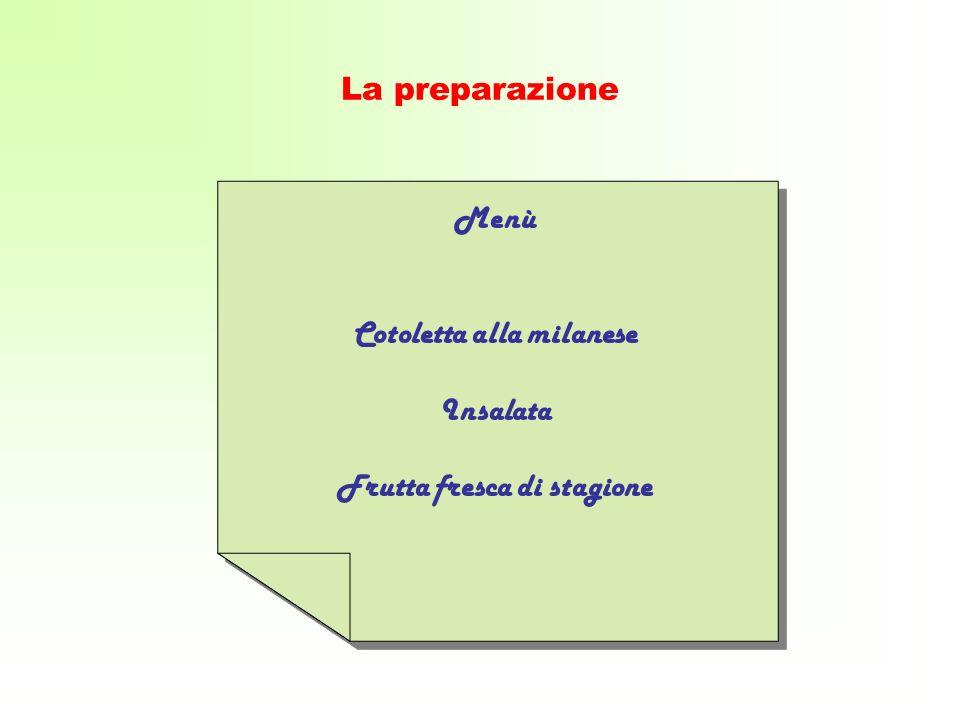 La preparazione Menù Cotoletta alla milanese Insalata Frutta fresca di stagione Menù Cotoletta alla milanese Insalata Frutta fresca di stagione