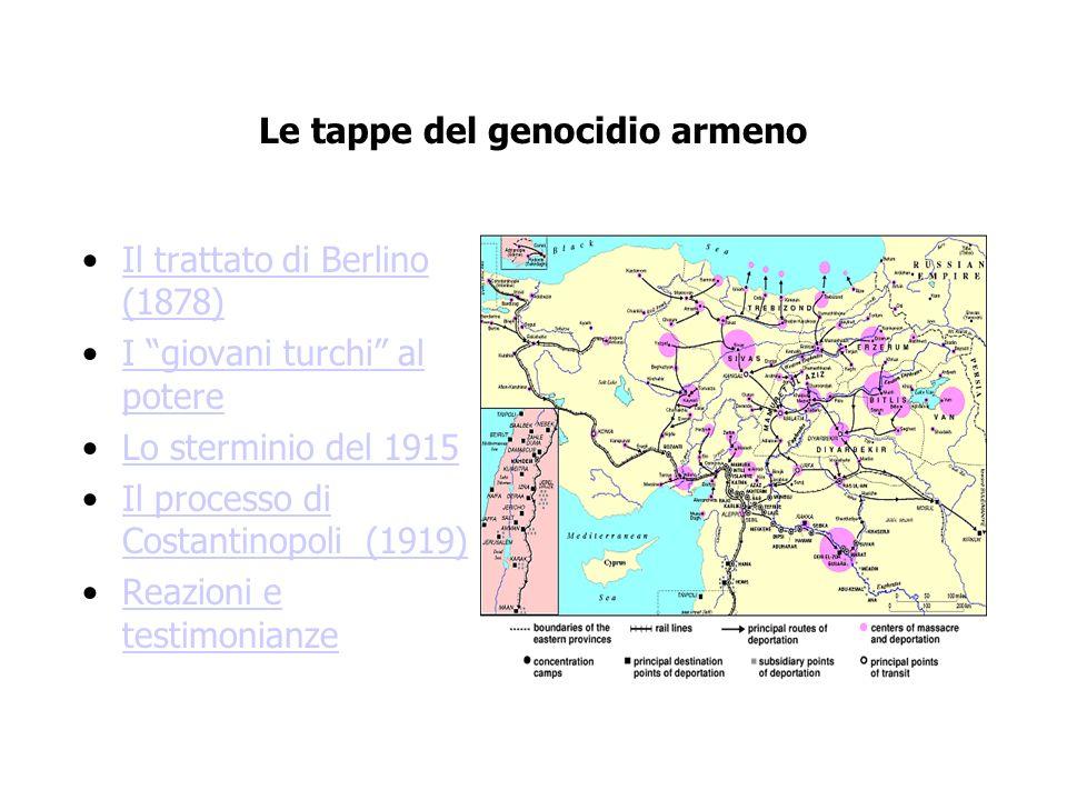 Le tappe del genocidio armeno Il trattato di Berlino (1878)Il trattato di Berlino (1878) I giovani turchi al potereI giovani turchi al potere Lo sterm