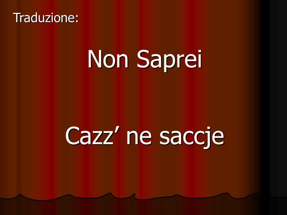 Non Saprei Cazz ne saccje Traduzione: