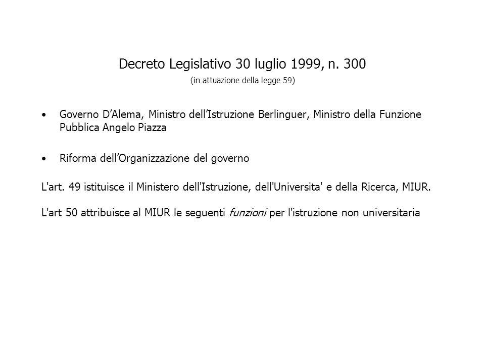 Decreto Legislativo 30 luglio 1999, n. 300 (in attuazione della legge 59) Governo DAlema, Ministro dellIstruzione Berlinguer, Ministro della Funzione