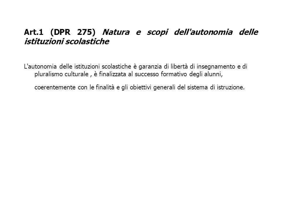 Art.1 (DPR 275) Natura e scopi dell'autonomia delle istituzioni scolastiche L'autonomia delle istituzioni scolastiche è garanzia di libertà di insegna