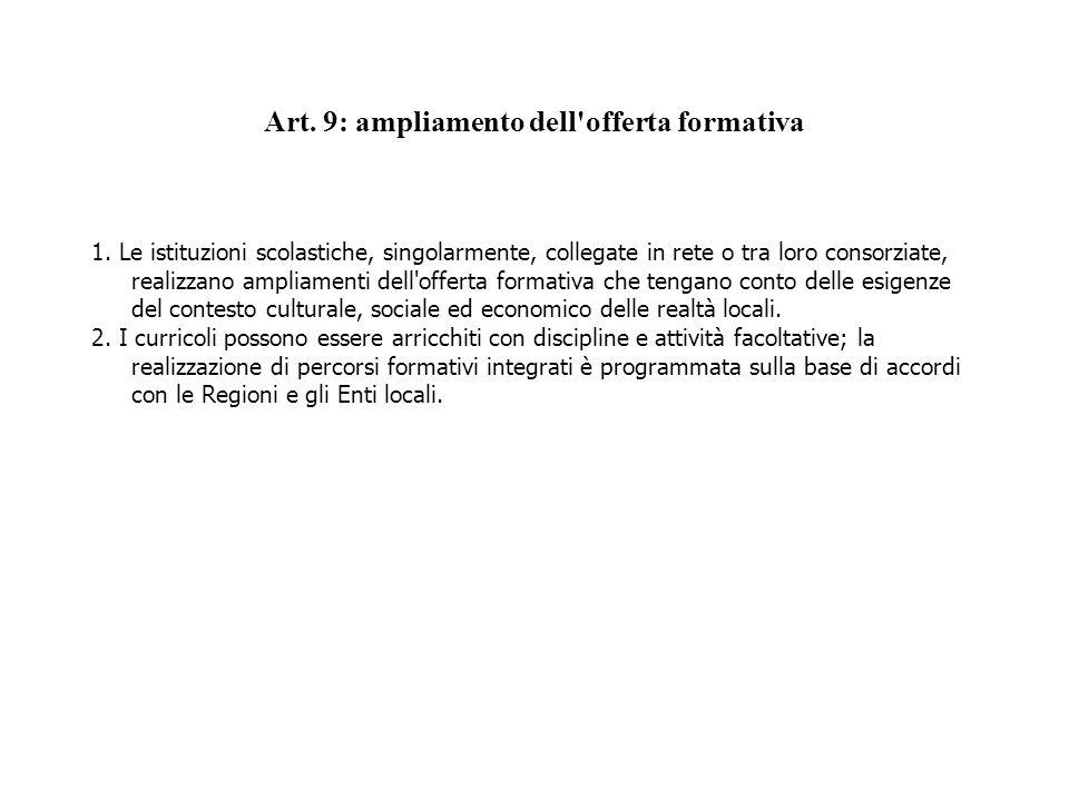 Art. 9: ampliamento dell'offerta formativa 1. Le istituzioni scolastiche, singolarmente, collegate in rete o tra loro consorziate, realizzano ampliame