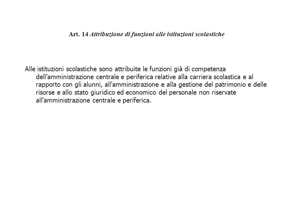 Art. 14 Attribuzione di funzioni alle istituzioni scolastiche Alle istituzioni scolastiche sono attribuite le funzioni già di competenza dell'amminist