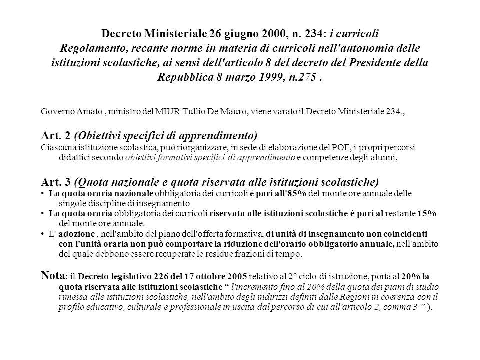Decreto Ministeriale 26 giugno 2000, n. 234: i curricoli Regolamento, recante norme in materia di curricoli nell'autonomia delle istituzioni scolastic