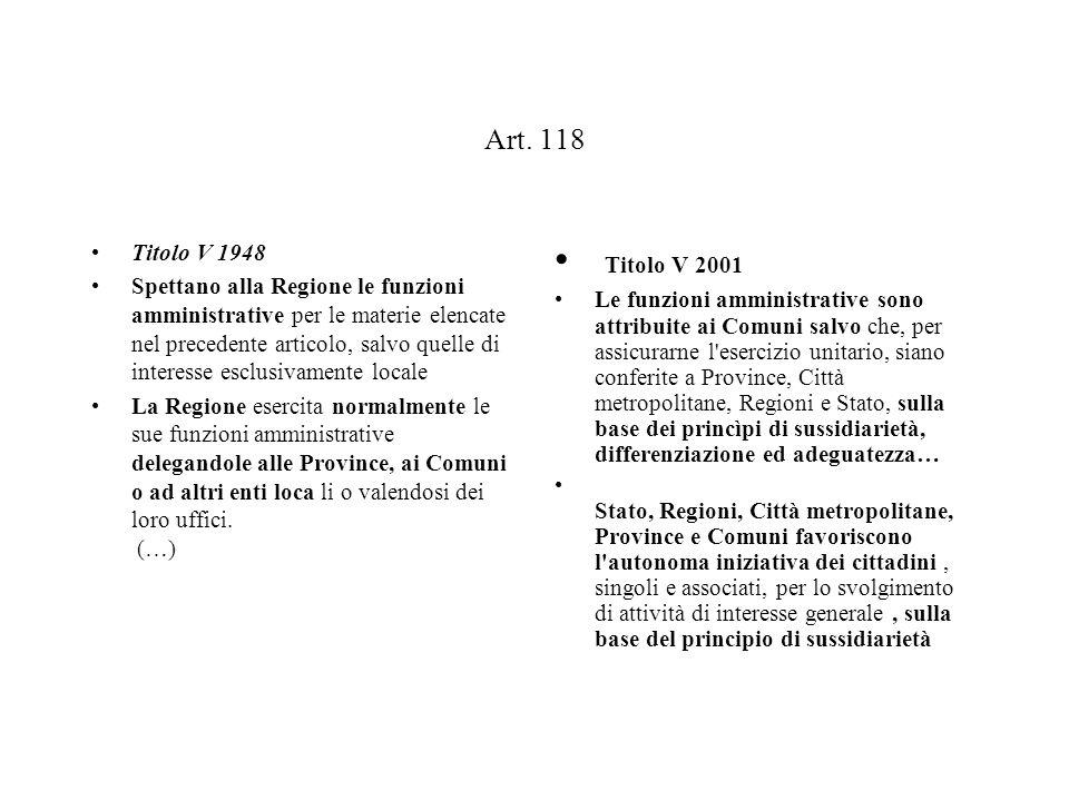 Art. 118 Titolo V 1948 Spettano alla Regione le funzioni amministrative per le materie elencate nel precedente articolo, salvo quelle di interesse esc