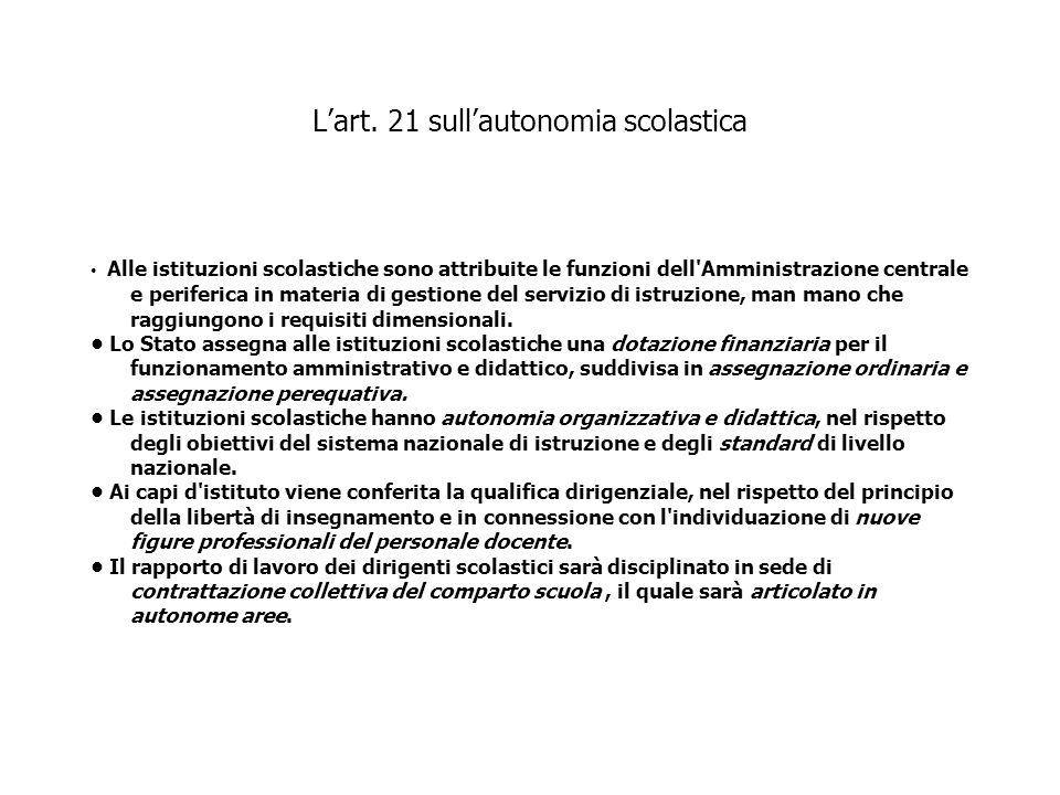 Lart. 21 sullautonomia scolastica Alle istituzioni scolastiche sono attribuite le funzioni dell'Amministrazione centrale e periferica in materia di ge