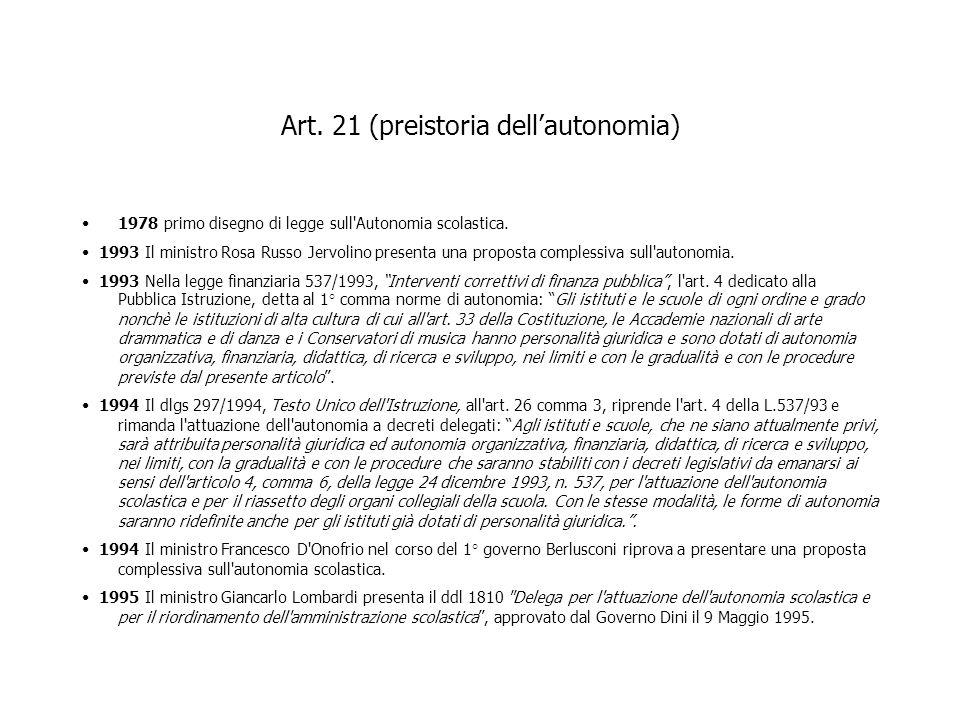 Art. 21 (preistoria dellautonomia) 1978 primo disegno di legge sull'Autonomia scolastica. 1993 Il ministro Rosa Russo Jervolino presenta una proposta