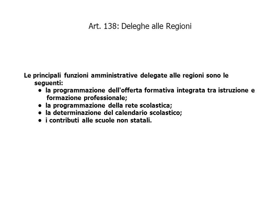 Art. 138: Deleghe alle Regioni Le principali funzioni amministrative delegate alle regioni sono le seguenti: la programmazione dell'offerta formativa