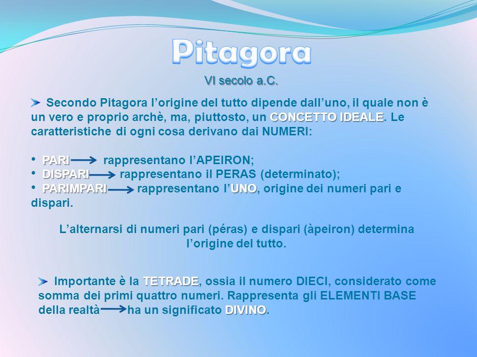 VI secolo a.C. CONCETTO IDEALE Secondo Pitagora lorigine del tutto dipende dalluno, il quale non è un vero e proprio archè, ma, piuttosto, un CONCETTO