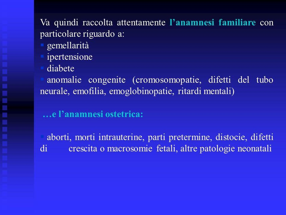 Va quindi raccolta attentamente lanamnesi familiare con particolare riguardo a: gemellarità ipertensione diabete anomalie congenite (cromosomopatie, difetti del tubo neurale, emofilia, emoglobinopatie, ritardi mentali) …e lanamnesi ostetrica: aborti, morti intrauterine, parti pretermine, distocie, difetti di crescita o macrosomie fetali, altre patologie neonatali