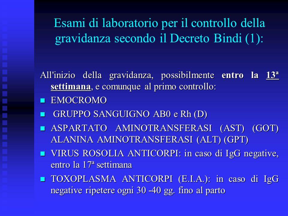 All inizio della gravidanza, possibilmente entro la 13ª settimana, e comunque al primo controllo: EMOCROMO EMOCROMO GRUPPO SANGUIGNO AB0 e Rh (D) GRUPPO SANGUIGNO AB0 e Rh (D) ASPARTATO AMINOTRANSFERASI (AST) (GOT) ALANINA AMINOTRANSFERASI (ALT) (GPT) ASPARTATO AMINOTRANSFERASI (AST) (GOT) ALANINA AMINOTRANSFERASI (ALT) (GPT) VIRUS ROSOLIA ANTICORPI: in caso di IgG negative, entro la 17ª settimana VIRUS ROSOLIA ANTICORPI: in caso di IgG negative, entro la 17ª settimana TOXOPLASMA ANTICORPI (E.I.A.): in caso di IgG negative ripetere ogni 30 -40 gg.