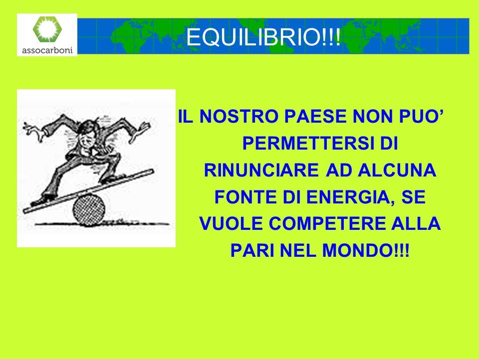IL NOSTRO PAESE NON PUO PERMETTERSI DI RINUNCIARE AD ALCUNA FONTE DI ENERGIA, SE VUOLE COMPETERE ALLA PARI NEL MONDO!!! EQUILIBRIO!!!