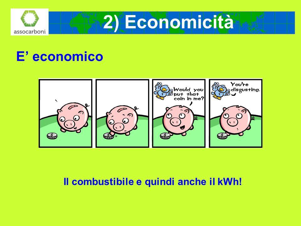 2) Economicità E economico Il combustibile e quindi anche il kWh!
