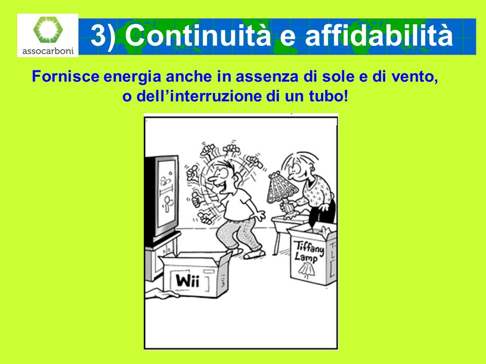 3) Continuità e affidabilità Fornisce energia anche in assenza di sole e di vento, o dellinterruzione di un tubo!