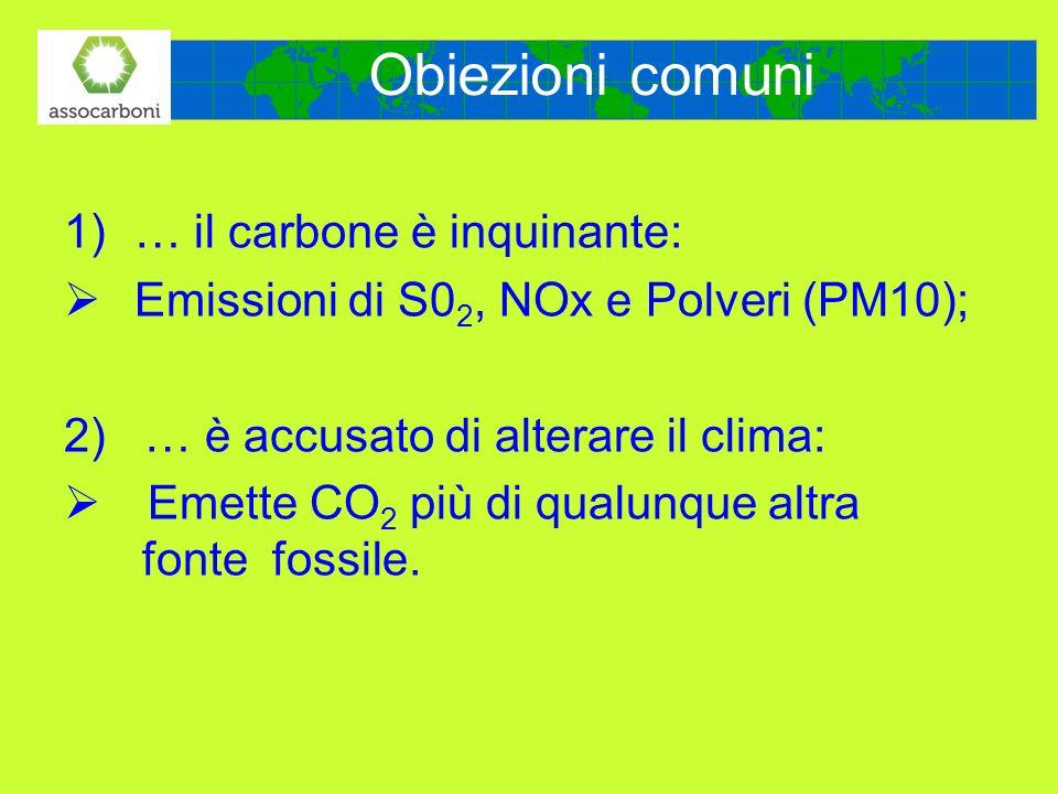 Obiezioni comuni 1)… il carbone è inquinante: Emissioni di S0 2, NOx e Polveri (PM10); 2) … è accusato di alterare il clima: Emette CO 2 più di qualun