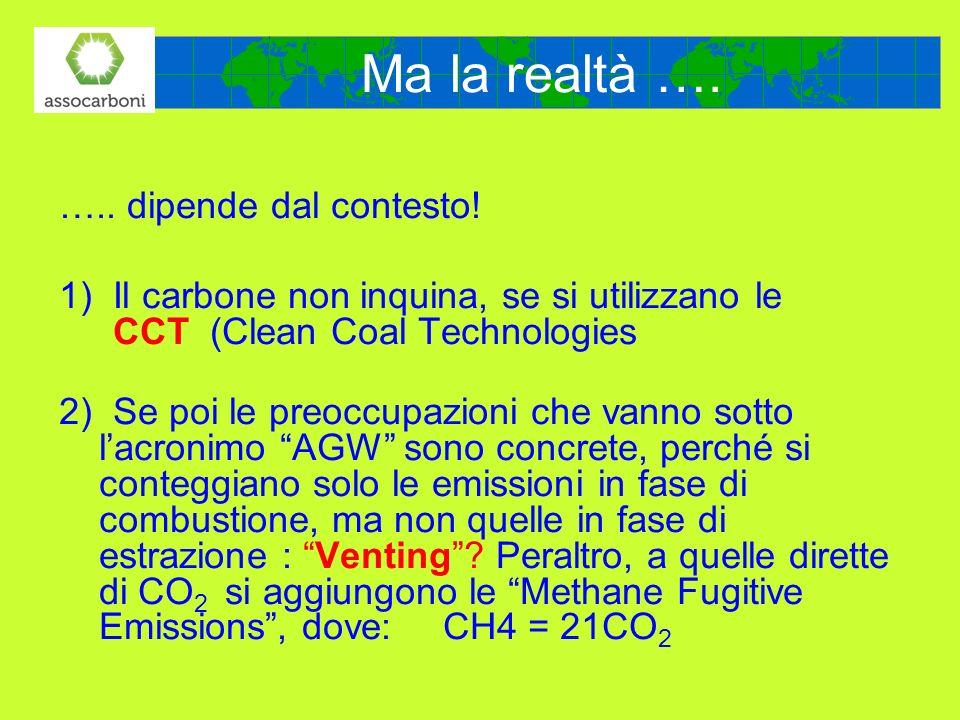 Ma la realtà …. ….. dipende dal contesto! 1)Il carbone non inquina, se si utilizzano le CCT (Clean Coal Technologies 2) Se poi le preoccupazioni che v