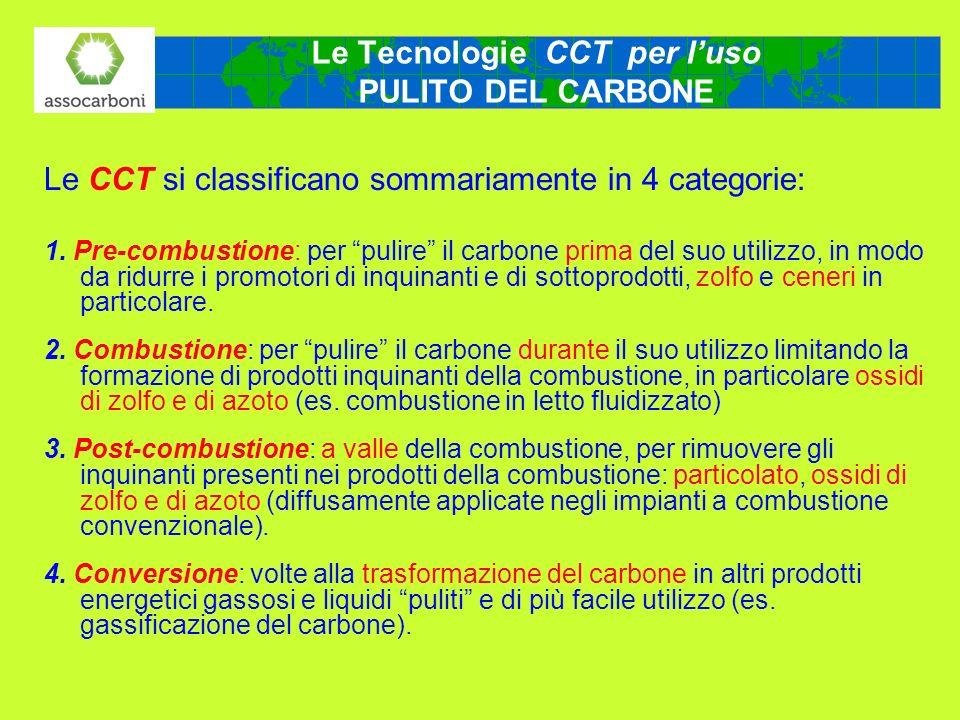Le Tecnologie CCT per luso PULITO DEL CARBONE Le CCT si classificano sommariamente in 4 categorie: 1. Pre-combustione: per pulire il carbone prima del