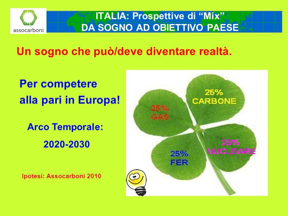 Un sogno che può/deve diventare realtà. Per competere alla pari in Europa! Ipotesi: Assocarboni 2010 ITALIA: Prospettive di Mix DA SOGNO AD OBIETTIVO