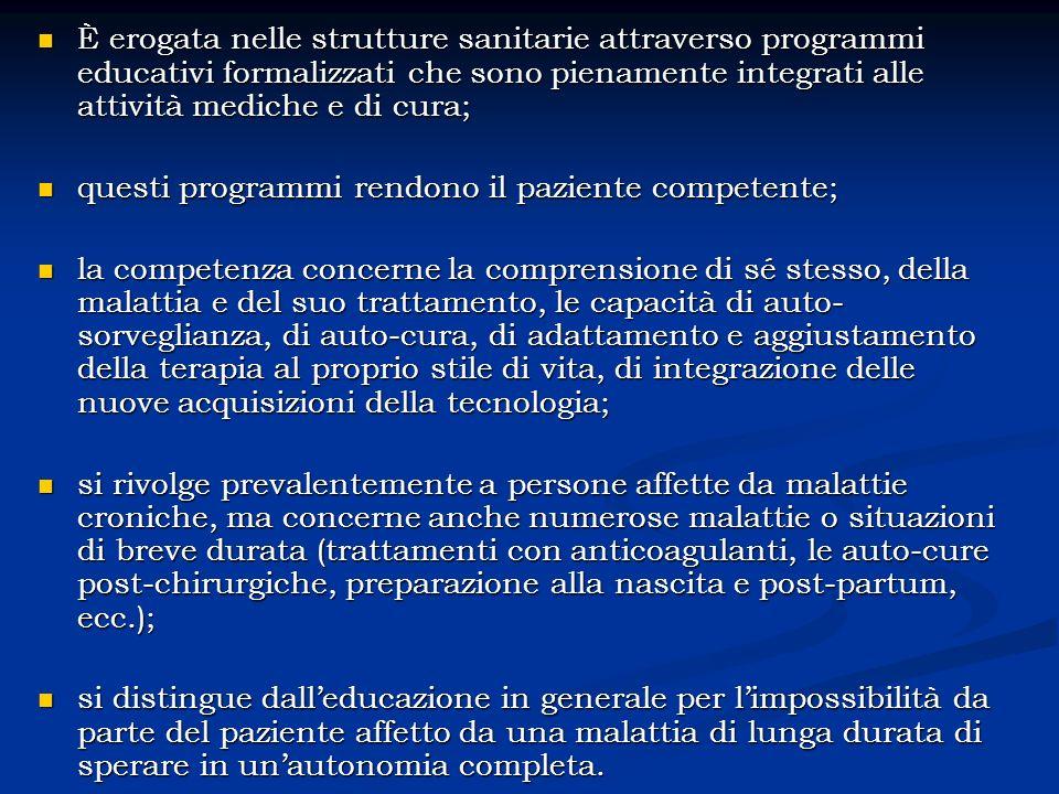 EDUCAZIONE TERAPEUTICA CAPACITÀ COMPETENZE APPRENDIMENTO