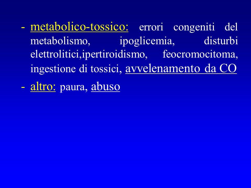 -metabolico-tossico: errori congeniti del metabolismo, ipoglicemia, disturbi elettrolitici,ipertiroidismo, feocromocitoma, ingestione di tossici, avve