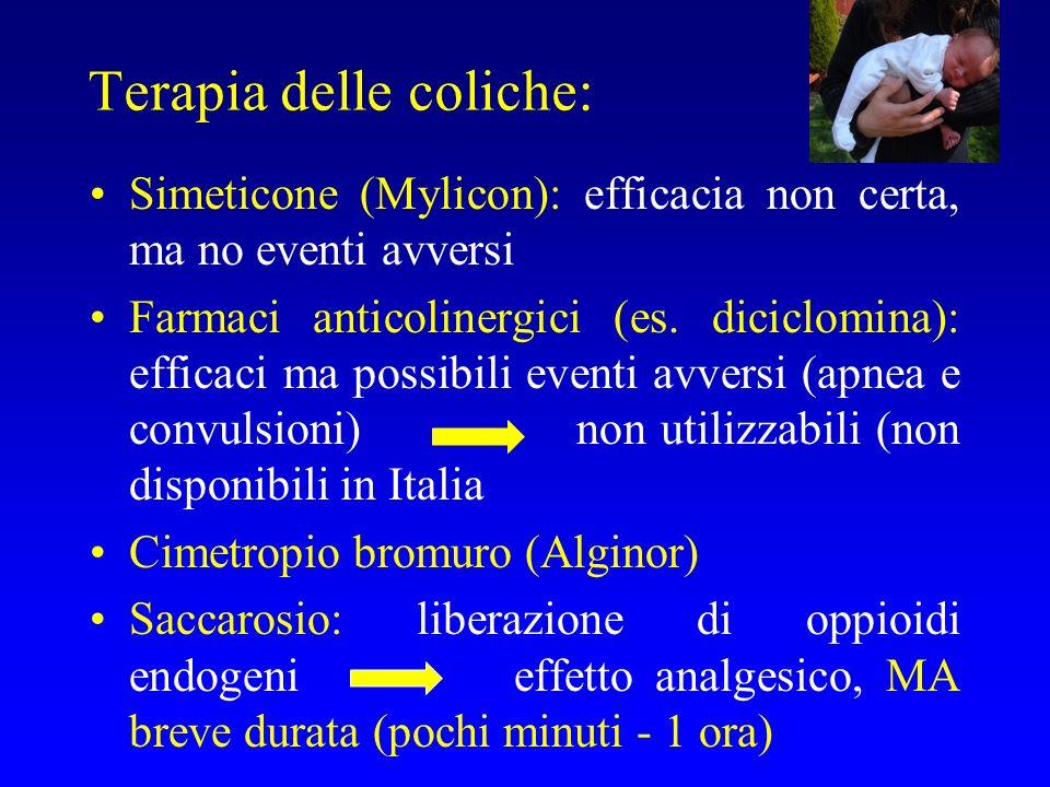 Terapia delle coliche: Simeticone (Mylicon): efficacia non certa, ma no eventi avversi Farmaci anticolinergici (es. diciclomina): efficaci ma possibil