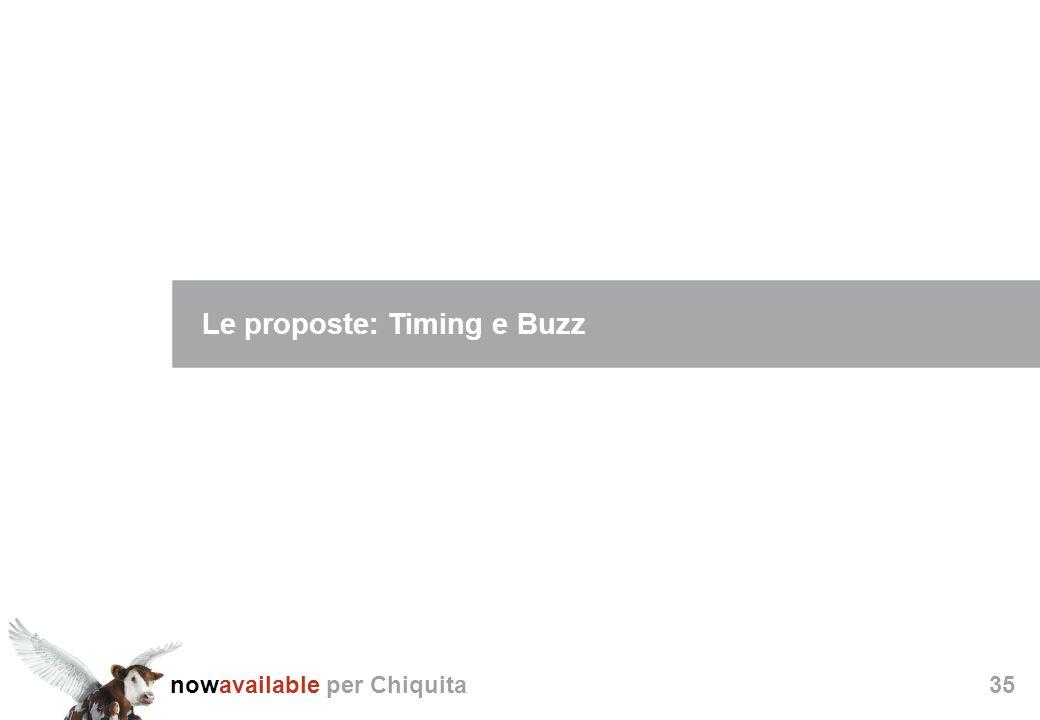 nowavailable per Chiquita35 Le proposte: Timing e Buzz