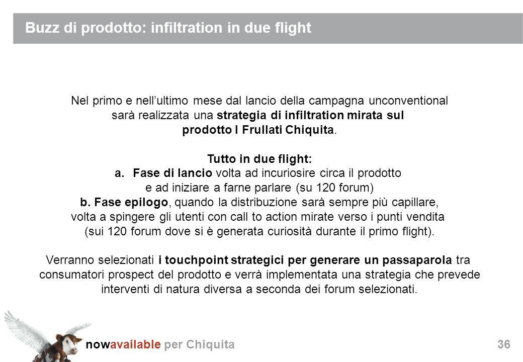 nowavailable per Chiquita36 Buzz di prodotto: infiltration in due flight Nel primo e nellultimo mese dal lancio della campagna unconventional sarà realizzata una strategia di infiltration mirata sul prodotto I Frullati Chiquita.