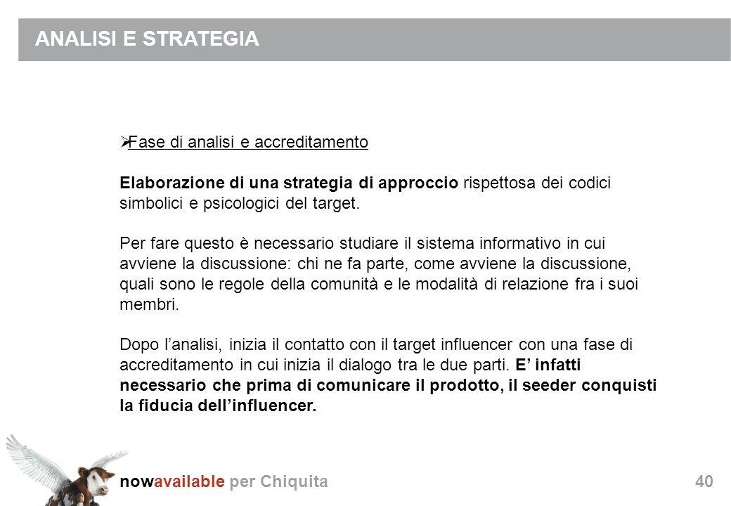 nowavailable per Chiquita40 ANALISI E STRATEGIA Fase di analisi e accreditamento Elaborazione di una strategia di approccio rispettosa dei codici simbolici e psicologici del target.