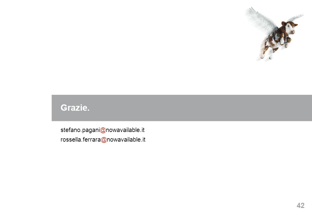42 Grazie. stefano.pagani@nowavailable.it rossella.ferrara@nowavailable.it