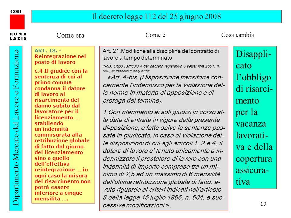 10 CGIL Dipartimento Mercato del Lavoro e Formazione Il decreto legge 112 del 25 giugno 2008 ART. 18. - Reintegrazione nel posto di lavoro c.4 Il giud